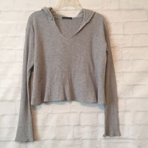 Brandy Melville heather gray cropped hoodie